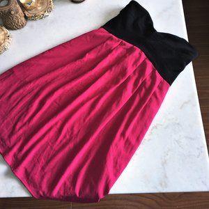 Club Monaco pink strapless color block dress black